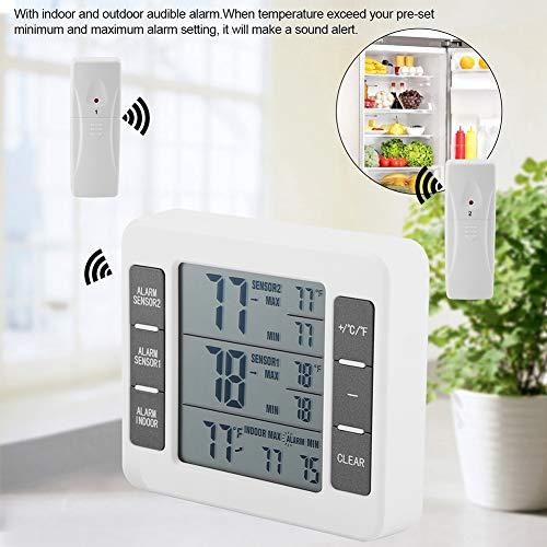 Koelkastthermometer, draadloze digitale akoestische alarmkoelthermometer met 2 STUKS Sensor Min/grootste display