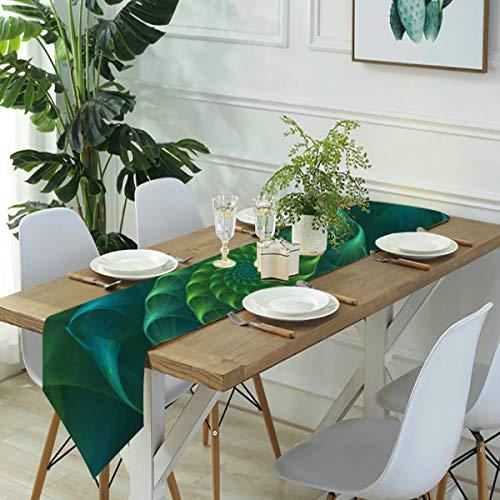Jack16 Camino de mesa abstracto fractal azul y verde de nautilus concha de mar lino, casa de granja, fiestas, decoración de vacaciones, para cocina, comedor, café, 30,3 x 170 cm