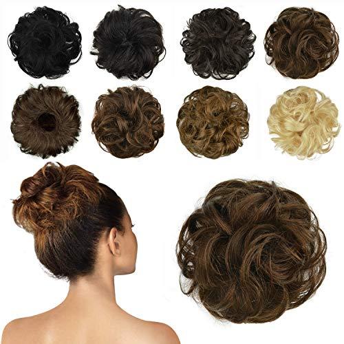 FESHFEN 100% Echthaar Haarteil Haargummi, lockige haarteile Haarknoten Haargummi Hochsteckfrisuren unordentlich dutt Haarteil Echthaar Haargummis für Damen Mädchen, Helles Kastanienbraun
