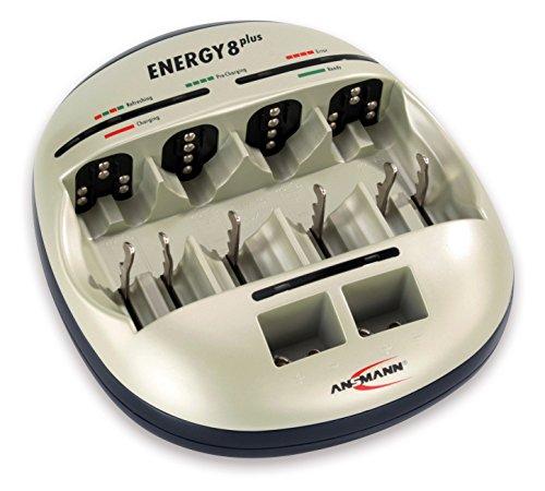 ANSMANN Energy 8 Plus Akku Ladegerät - Ladestation für AAA, AA, C, D & 9V E-Block - Schnellladegerät als Pflegestation & Kapazitätstester mit Refresh Funktion - Batterieladegerät für NiMH Akkus