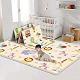 【Baby's Safety Is The Priority】BFSAUHA's Baby play mat is made of non toxic, tasteless high density XPE foam. The cute patterns on crawling playmat are printed with vegetable oil ink, feature BPA free, non-toxic, no-fading, no chemical odor, comforta...