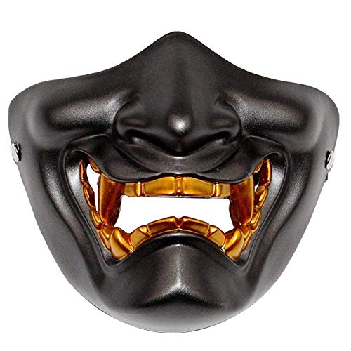 ZAKIA Horrible Half Face Japanese Prajna Demon Mask Costume Props Halloween Cosplay (Black)