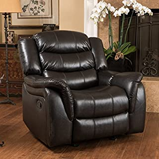 Christopher Knight Home Hawthorne Leather Glider Recliner Chair, Black Berry