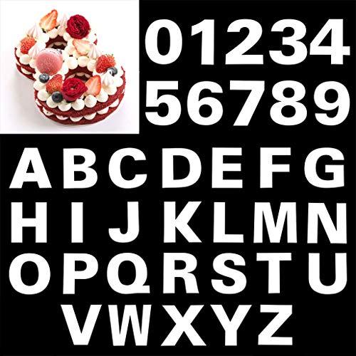 Giftik Plantilla de letras de 20 cm, alfabeto, 26 unidades, 0 – 9 plantillas para tartas de números, 10 unidades, plantillas para tartas de hornear para cumpleaños, bodas y aniversarios (8 pulgadas)