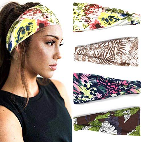 IYOU Boho Hoofdbanden Bloem Hoofd Wraps Yoga Hoofdband Katoen Brede Haarbanden Stretchy Hoofd Sjaal voor Vrouwen en Meisjes (pak van 4)