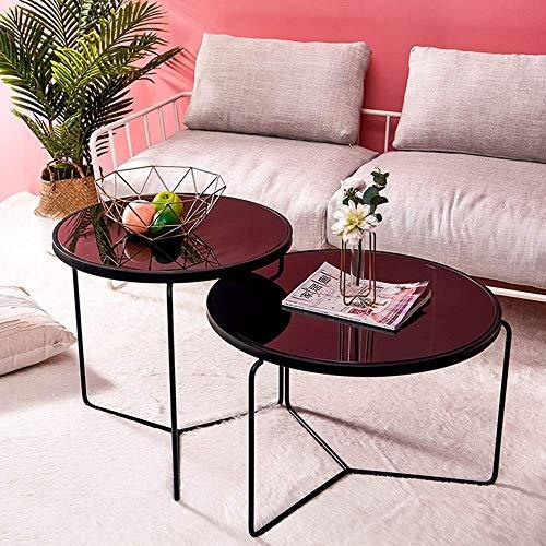 Good Tv Staande lamp telefoon tafel bijzettafel eiken tafel Europees gehard glas Iron Art salontafel bestand tegen hoge temperaturen bijzettafel creatief praktische theetafel, zwart, wit, zwart Zwart-67 x 45 cm.