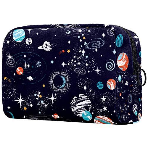 Personalisierte Make-up Pinsel Tasche Tragbare Kulturbeutel für Frauen Handtasche Kosmetik Reiseveranstalter Galaxy S.Tempo Sterne Planeten mit Raketen