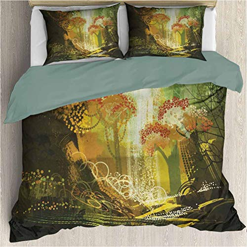 SEMZUXCVO Microfiber Duvet Set Includes 1 Comforter and 2 Pillow Shams, Fantasy Forest with Waterfall Vivid Autumn Season Nature Inspired Digital Painting Print Multicolor (California King)