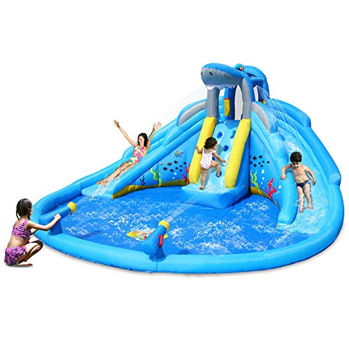 ACTION AIR Inflatable Waterslide, Shark Theme Waterpark with Double Slides, Bounce House for Wet and Dry, 2 Water Guns with Huge Splashing Pool, Durable Sewn and Extra Thick, Idea for Kids (9421)