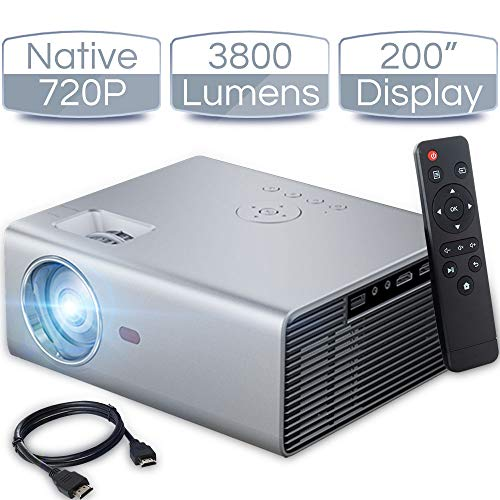 iCODIS T400 Video Projector, Full HD 1080P Supported, 3800 Lux Mini Projector with 50,000 Hrs, 200' Display Home Theater Movie Projector, Compatible with Fire TV Stick/ Smartphone/ PS4/ PC /HDMI / USB