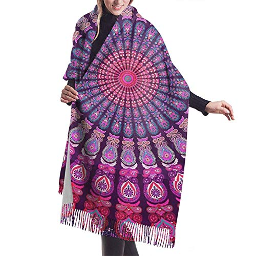 Bufanda larga y cálida y suave Otoño Invierno Abrigo de primavera Rosa Púrpura Patrón étnico Chales ligeros y agradables a la piel Bufandas de cachemira adolescentes adultos