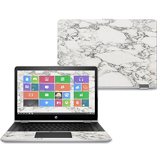 Mightyskins Skin Compatible with Hp Pavilion X360 14' (2017) - White Marble | Protective, Durable, and Unique Vinyl Decal Wrap Cover | Easy to Apply, Remove, and Change Styles | Made in The USA