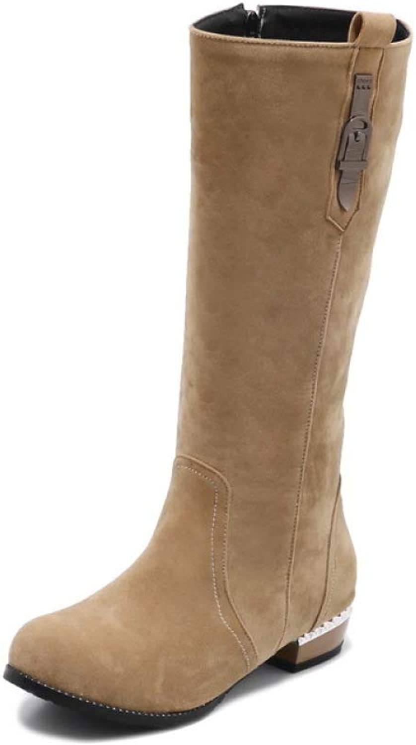 Women Fashion Suede Knee Boots 2018 Winter with Low Heel High Tube Rider Boots Size 28-52