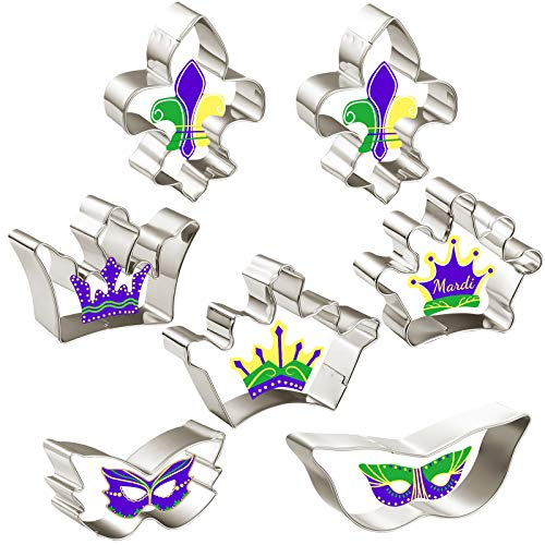 7 Pieces Mardi Gras Cookie Cutters Set Crown Masquerade Fleur de Lis Shaped Biscuit Molds for DIY Baking Cake Craft Pastry Bakeware Decoration