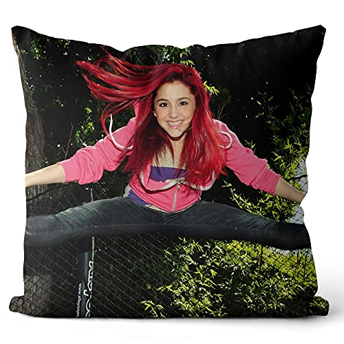 Funda de Almohada Impresa Ariana Grande Retrato Funda de cojín diseño de Funda de Almohada para Oficina en casa sofá de Coche Sala de Estar 40x40cm