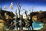 Póster de Salvador Dalí 'Swans Reflecting Elephants/Cisnes reflejando elefantes' (91cm x 61cm) + embalaje para regalo
