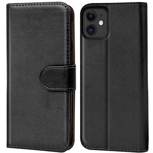 Verco iPhone 11 Hülle, Handyhülle für Apple iPhone 11 Tasche PU Leder Flip Hülle Schutzhülle Brieftasche (6,1 Zoll) - Schwarz