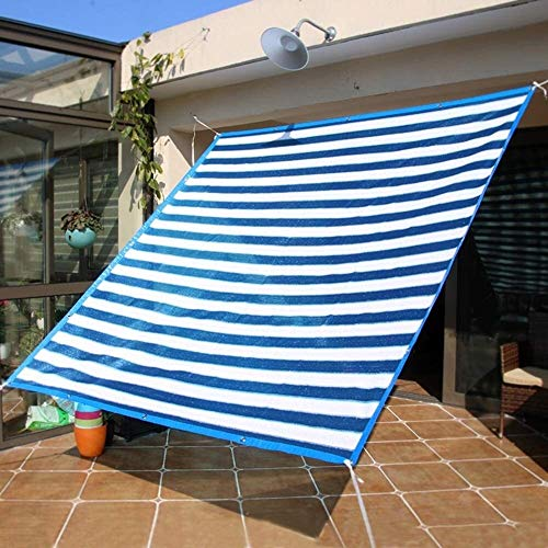 2mX4m Shade plants Greenhouse Cover Patio 80% Shade Sail Cloth Sun Shade Mesh Fabric UV Resistant Net For Garden Backyard Deck Garage Porch Front Door Blue White Stripe (Size : 2m x 3m)