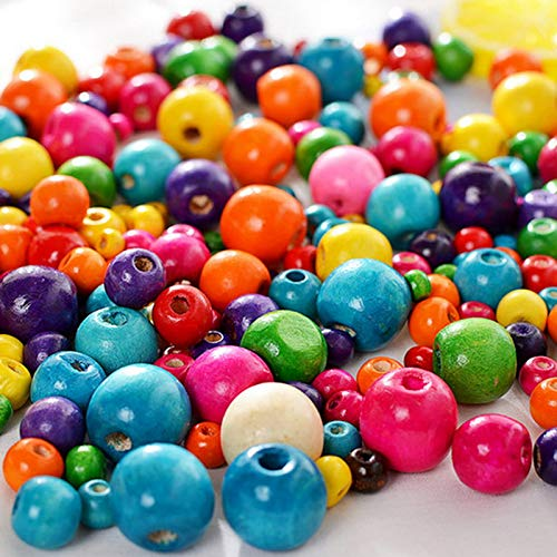 Cuentas de Madera Coloridas, 800PCS Natural Cuentas de Madera Coloridas Redondas, Joyas Cuentas de Madera, Cuentas Coloridas Redondas Surtidas para Pulseras de Collares Artesanales (6/8/10/12MM)