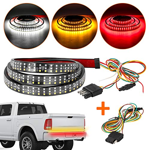 Zmoon LED Tailgate Light Bar Triple Row, 60 Inch Tail Light Bar with Standard 4-Pin Flat Connector,Turn Signal, Parking, Brake, Reverse Lights for Cargo, Pickup Truck, SUV, RV, Boat