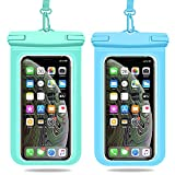 Weuiean Waterproof Phone Case, Waterproof Phone Bag with Detachable Lanyard, Phone Dry Bag for iPhone 12/11/SE/XS/XR 8/7/6Plus, Samsung S21/20/10/10+/Note up to 6.9 inch - 2Pack Mint Green+Blue
