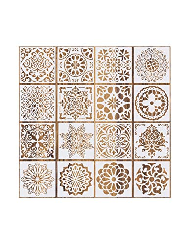 16 Pcs Mandala Floral Design 6x6 in Stencils for Painting on Wood Reusable Templates for DIY on Tile, Walls, Fabric, Furniture, Canvas, Sidewalks Outdoor Indoor Decoration