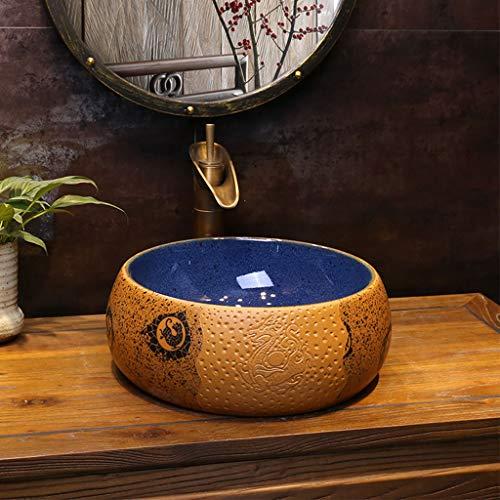 Geen band Badkamer Gele Vloeiende Vintage Ronde Wassen Stands Handgemaakte Vuil Wear-Resistant Wastafel Diepe Vul met Overflow Slot, 40CM*15CM 1211