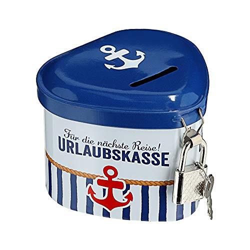 Spardose Urlaubskasse in Herzform Sparschwein Sparbüchse Maritim mit Schloß Sparen Geldbox Kasse (1 x Spardose Urlaubskasse)