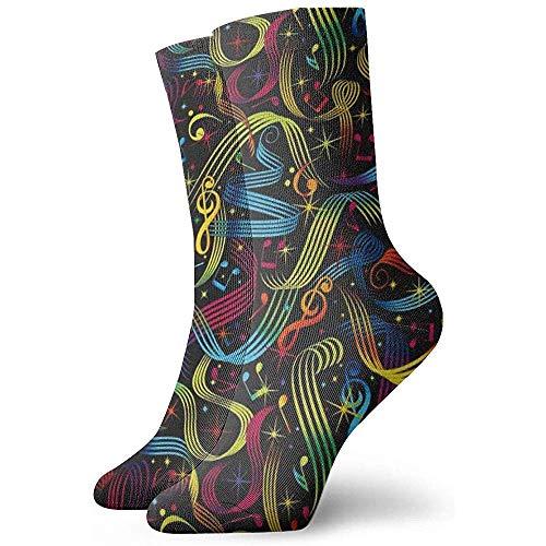 heefan Rock On Bright Music Notes Calcetines de vestir Calcetines divertidos Calcetines locos Calcetines casuales para nias y nios