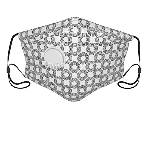 NANITHG Face Cover,Geometric Circle Vinyl Records Inspired Concentric Rings With Curve Grids Artwork Print,Balaclava Unisex Reusable Windproof Anti Dust Mouth Bandanas Outdoor Camping Running