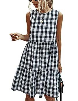 PRETTYGARDEN Women's Casual Plaid Sleeveless Ruffle Sundress Round Neck A-Line Pleated Mini Short T Shirt Dress with Pockets Black