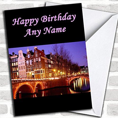 Amsterdam Verjaardagskaart met envelop, kan volledig gepersonaliseerd worden, snel en gratis verzonden