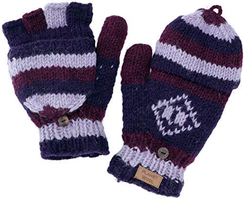 GURU SHOP Handgestrickte Handschuhe, Klapphandschuhe Nepal, Wollhandschuhe, Herren/Damen, Violett, Wolle, Size:One Size, Handschuhe Alternative Bekleidung