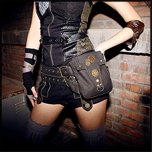 CuteLife Riñonera Punk Bolsa de Locomotora de Steampunk Teléfono móvil Bolsa de Lona Bolsa de Tela de Mujer Bolso de la Cintura para la Escuela del Trabajo (Color : Black, Size : One Size)