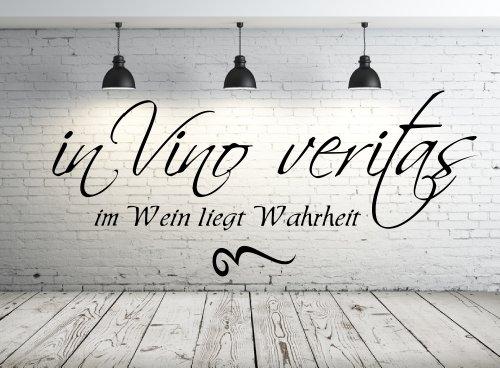 Wandtattoo 68099-58x25 cm, ~ Text: in vino veritas - im Wein liegt Wahrheit ~ Wandaufkleber Wandtatoos Sticker Aufkleber für die Wand, Fensterbild, Tapetensticker, Türaufkleber, Tattoo aus Markenfolie - aus 32 Farben wählen