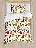 695 Juego de ropa de cama con diseño navideño de pan de jengibre, diseño de estrellas y campanas de manzanas, juego de cama de 2 piezas con 1 funda de almohada, tamaño individual, color rojo canela