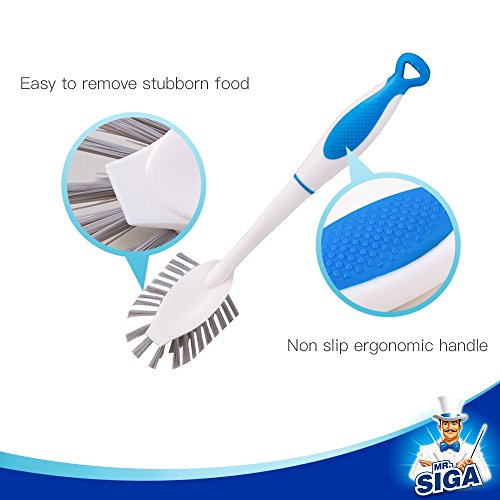 MR.SIGA Dish Brush with Long Handle Built-in Scraper, Scrubbing Brush for Pans, Pots, Kitchen Sink Cleaning, Pack of 3