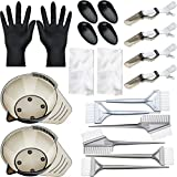 20 Pieces Hair Dye Coloring Kit, Hair Tinting Bowl, Dye Brush, Ear Cover, Gloves for DIY Salon Hair Coloring Bleaching Hair Dryers Hair Dye Tools (16.5 x 5.3 cm, Transparent Bowl Style)