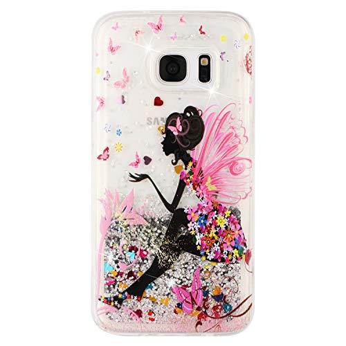 BIZHIKE Cover per Samsung Galaxy S7, Glitter Bling Liquido Custodia Sparkly Luccichio Pendenza TPU Silicone Protettivo Morbido Brillantini Quicksand Case -Fata Farfalla