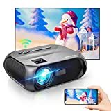 Wi-Fi Mini Projector, 6500 Lux, Native 1280x720P Portable Projector, Full HD 1080P Supported Outdoor Projector, Wireless Mirroring by WiFi/USB Cable, for iPhone/ Android/ Laptops/ Windows