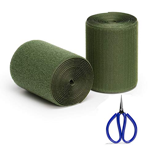 Sew on Hook and Loop Non-Adhesive for Interlocking Tape Sewing Fasteners,Gift Scissors, Military Green(4 Inch7ft)