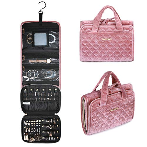 BAGSMART Velvet Hanging Jewelry Organizer Roll with Hook Foldable Travel Jewelry Case for Rings Necklaces Bracelets Earrings Pink