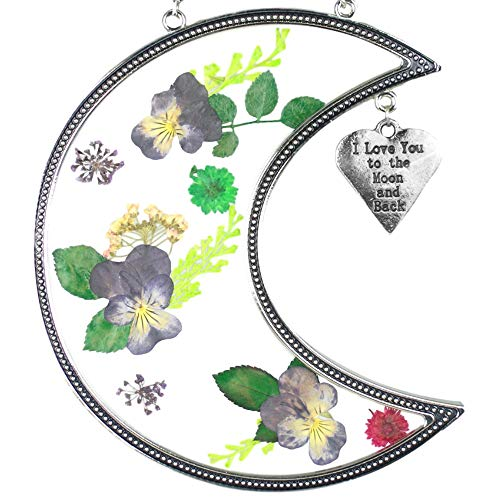 BANBERRY DESIGNS I Love You to The Moon and Back Suncatcher with Real Pressed Flowers in Glass and Silver Metal Heart Shaped Engraved Charm - Gift for a Loved One Wife Girlfriend Fiance