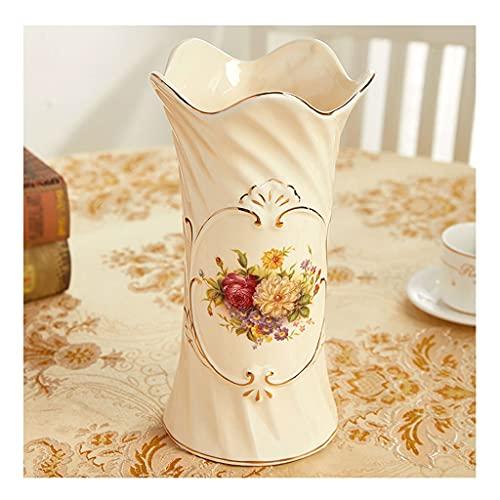 Erba Vaso di Fiori Pianta Vaso in ceramica giallo grande capacità, soggiorno disposizione floreale ricco bamboo tavolino da pranzo di fascia alta tavolino TV vaso drenaggio Decorazione per Balcone