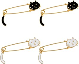 Mystart 4 Pieces Lovely Enamel Cat Brooches Pins Safety Pins Scarf Lapel Pins DIY Jewelry Craft Accessories
