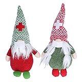 Zerodis Tomte Suédois Fait à la Main de GNOME sans Visage, Ornements D'elfe de Noël en Peluche 2PCS Figurines de Poupées de Père Noël sans Visage avec Garde-Visage pour la Fête de Famille d'enfants