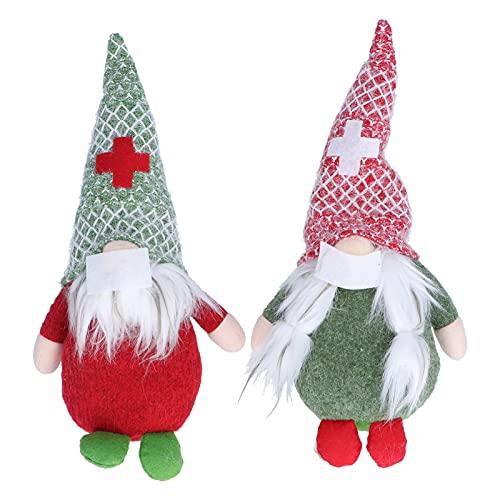 2 Figurine di Bambole di Babbo Natale Senza Volto con Protezione per il Viso per Ornamenti di Decorazioni Natalizie Christmas