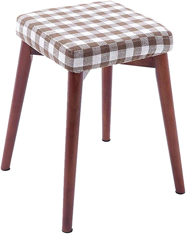 XSJ Footstools Square Solid Wood Dining Stool Cloth Fashion Makeup Stools Sofa Seat Household Living Room Bedroom Dressing Vanity Stool With 4 Wooden Legs