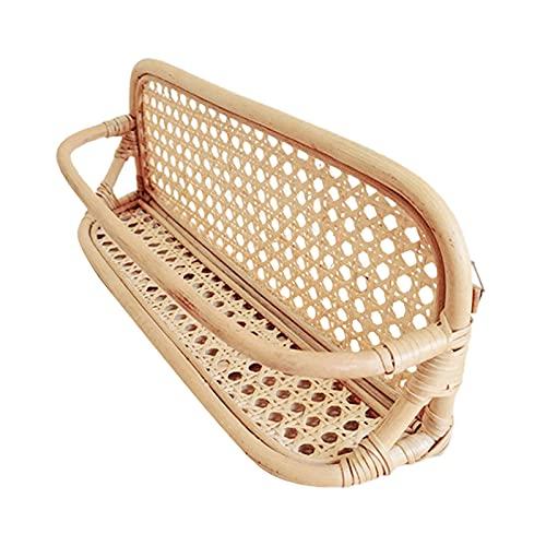 Kristy Cesta tejida de ratán natural cesta decorativa de ratán y organizador de baño para sala de estar, baño, 40 x 11 x 16 cm