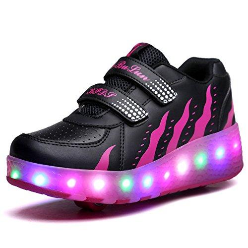 Unisex Kinder Roller LED Schuhe Leuchten Doppelräder Skateboard Turnschuhe Outdoor Sports Training Rollschuh Schuhe für Jungen Mädchen (34 EU, Schwarzes Rosa)
